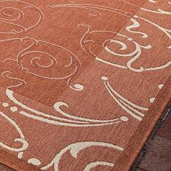 Safavieh Oasis Scrollwork Terracotta/ Natural Indoor/ Outdoor Rug (6'7 Square) - Thumbnail 2