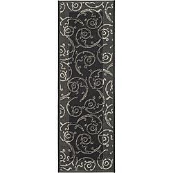 Safavieh Oasis Scrollwork Black/ Sand Indoor/ Outdoor Runner (2'4 x 9'11)