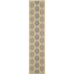 Safavieh St. Martin Damask Natural/ Blue Indoor/ Outdoor Runner (2'4 x 9'11)