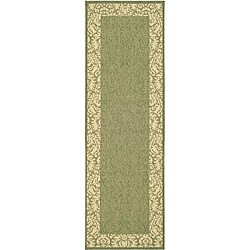 Safavieh Kaii Damask Olive Green/ Natural Indoor/ Outdoor Runner Rug - 2'4 x 9'11 - Thumbnail 0