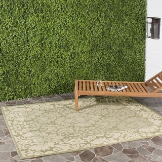 Safavieh Kaii Damask Olive Green/ Natural Indoor/ Outdoor Rug (6'7 Square)