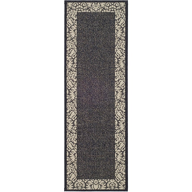 "Safavieh Kaii Damask Black/ Sand Indoor/ Outdoor Runner - 2'4"" x 9'11"""