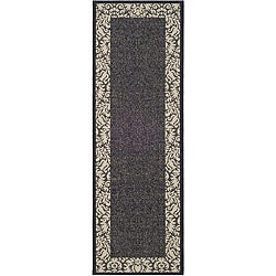 Safavieh Kaii Damask Black/ Sand Indoor/ Outdoor Runner (2'4 x 9'11)