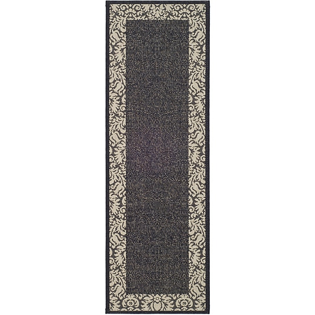 "Safavieh Kaii Damask Black/ Sand Indoor/ Outdoor Runner - 2'4"" x 6'7"""