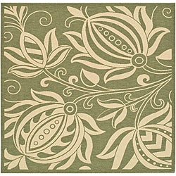 Safavieh Andros Olive Green/ Natural Indoor/ Outdoor Rug (6'7 Square)