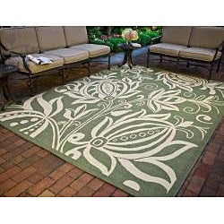 Safavieh Andros Olive Green/ Natural Indoor/ Outdoor Rug (7'10 Square) - Thumbnail 1