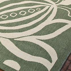 Safavieh Andros Olive Green/ Natural Indoor/ Outdoor Rug (7'10 Square) - Thumbnail 2