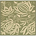 "Safavieh Andros Olive Green/ Natural Indoor/ Outdoor Rug - 7'10"" x 7'10"" square"