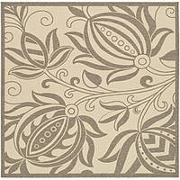 Safavieh Andros Natural/ Brown Indoor/ Outdoor Rug (6'7 Square) - 6'7