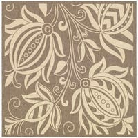 "Safavieh Andros Brown/ Natural Indoor/ Outdoor Rug - 7'10"" x 7'10"" square"