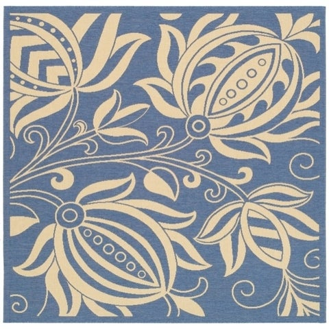 """Safavieh Andros Blue/ Natural Indoor/ Outdoor Rug - 6'7"""" x 6'7"""" Square"""
