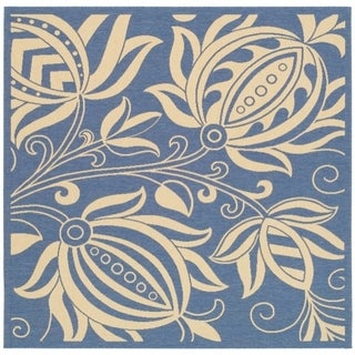 Safavieh Andros Blue/ Natural Indoor/ Outdoor Rug (6'7 Square)
