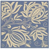 """Safavieh Andros Blue/ Natural Indoor/ Outdoor Rug - 7'10"""" x 7'10"""" square"""