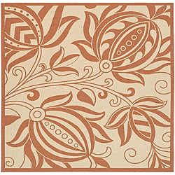 Safavieh Indoor/ Outdoor Andros Natural/ Terracotta Rug (7'10 Square)