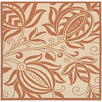 """Safavieh Andros Natural/ Terracotta Indoor/ Outdoor Rug - 7'10"""" x 7'10"""" square"""
