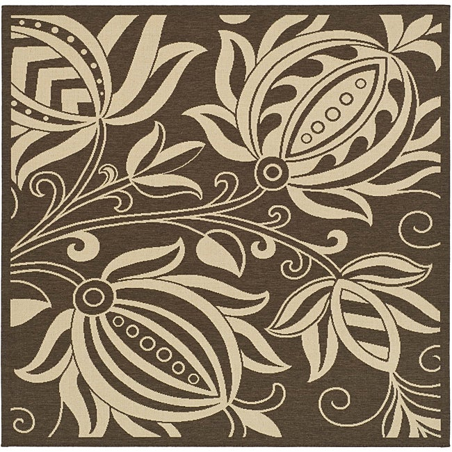 Safavieh Andros Chocolate/ Natural Indoor/ Outdoor Rug (6'7 Square)