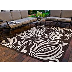 Safavieh Andros Chocolate/ Natural Indoor/ Outdoor Rug (6'7 Square) - Thumbnail 1