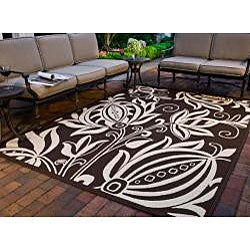 Safavieh Andros Chocolate/ Natural Indoor/ Outdoor Rug (7'10 Square)