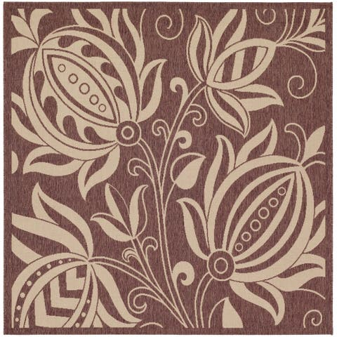 "Safavieh Andros Chocolate/ Natural Indoor/ Outdoor Rug - 7'10"" x 7'10"" Square"