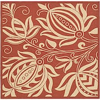 """Safavieh Andros Red/ Natural Indoor/ Outdoor Rug - 6'7"""" x 6'7"""" square"""