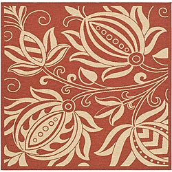 Safavieh Andros Red/ Natural Indoor/ Outdoor Rug (7'10 Square)