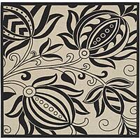 """Safavieh Andros Sand/ Black Indoor/ Outdoor Rug - 6'7"""" x 6'7"""" square"""