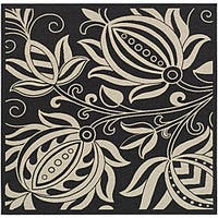 Safavieh Andros Black/ Sand Indoor/ Outdoor Rug - 6'7 Square