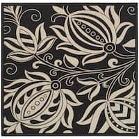 """Safavieh Andros Black/ Sand Indoor/ Outdoor Rug - 6'7"""" x 6'7"""" square"""