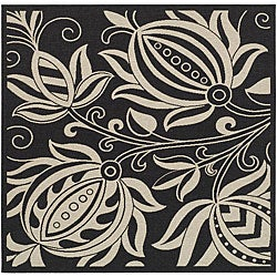 Safavieh Andros Black/ Sand Indoor/ Outdoor Rug (7'10 Square)