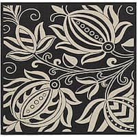 Safavieh Andros Black/ Sand Indoor/ Outdoor Rug (7'10 Square) - 7'10