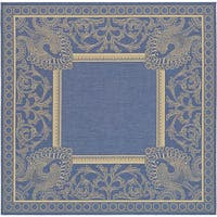"""Safavieh Abaco Blue/ Natural Indoor/ Outdoor Rug (6'7 Square) - 6'7"""" x 6'7"""" square"""