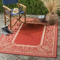 """Safavieh Abaco Red/ Natural Indoor/ Outdoor Rug - 6'7"""" x 6'7"""" square"""