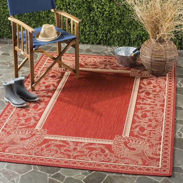 Safavieh Abaco Red/ Natural Indoor/ Outdoor Rug (6'7 Square) - 6'7