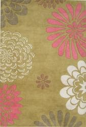 Hand-tufted Giant Flowers Green Wool Rug (8' x 10') - Thumbnail 1