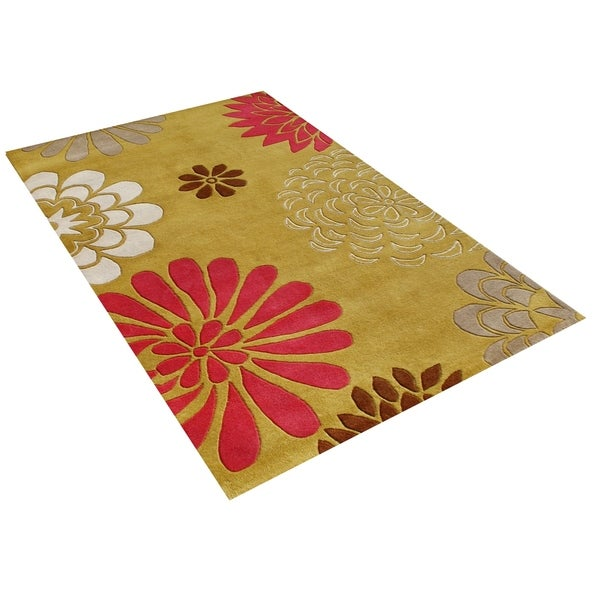Hand-tufted Giant Flowers Green Wool Rug (8' x 10') - 8' x 10'