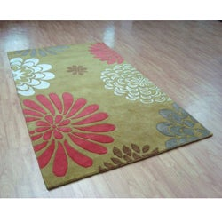 Hand-tufted Giant Flowers Green Wool Rug (8' x 10') - Thumbnail 2