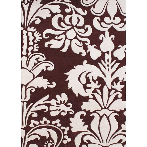Hand-tufted Venice Leaves Reddish-brown Wool Rug (8' x 10')