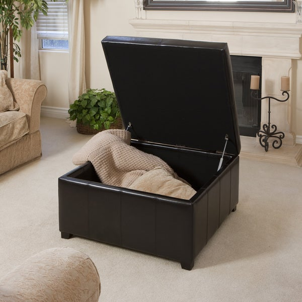 Attrayant Forrester Espresso Bonded Leather Square Storage Ottoman By Christopher  Knight Home