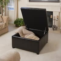 Forrester Espresso Bonded Leather Square Storage Ottoman by Christopher Knight Home