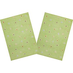 Set of 2 Handmade Green Dots Cotton Rugs (2'6 x 4'2)