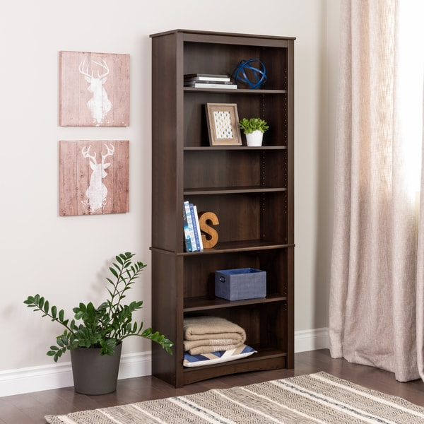 6 shelf bookcase bi fold door baxton studio barnes modern white orson slim espresso
