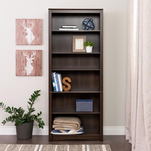 Everett Espresso 6-shelf Bookcase