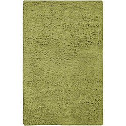 Hand-woven Santa Fe Lime Green Plush Shag Wool Rug (4' x 10')
