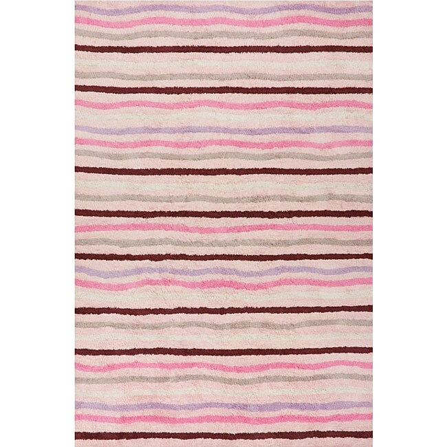 Handmade Ziggy Pink Cotton Rug - 4' x 6'