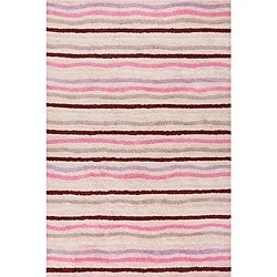 Handmade Ziggy Pink Cotton Rug (4' x 6')