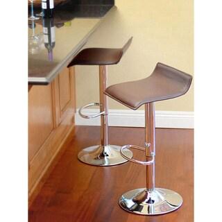 Klein Brown Leather Bar Stools (Set of 2)