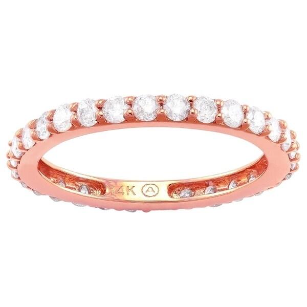 14k Rose Gold 1ct TDW Diamond Eternity Band Ring - White H-I