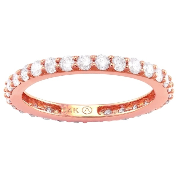 14k Rose Gold 1ct TDW Diamond Eternity Wedding Band