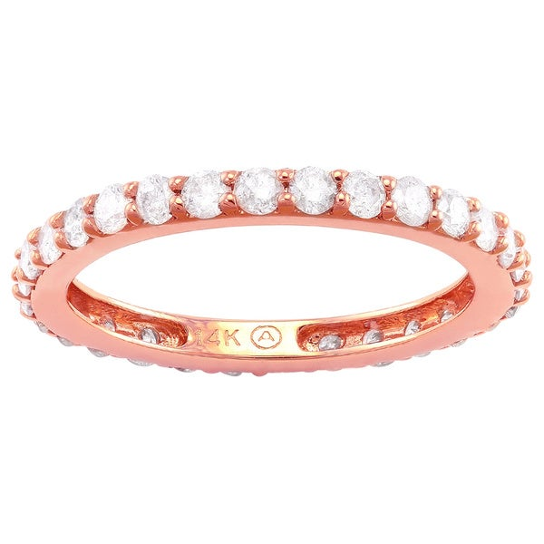 Beverly Hills Charm 14k Rose Gold 1ct TDW Diamond Eternity Wedding Band (H-I, I2-I3)