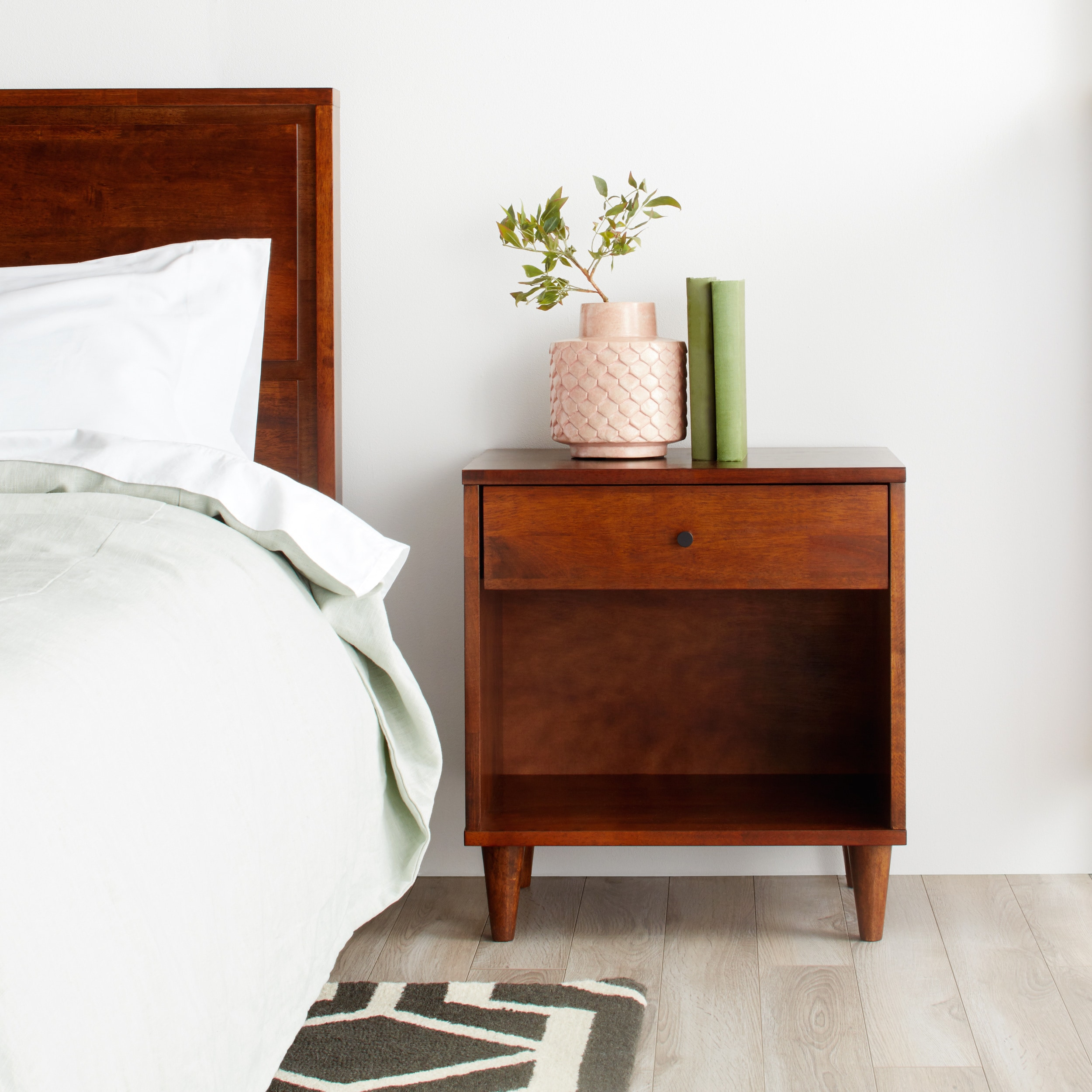 Details About Small Bedside Table 1 Drawer Accent Wood Midcentury Modern  Nightstand Low End